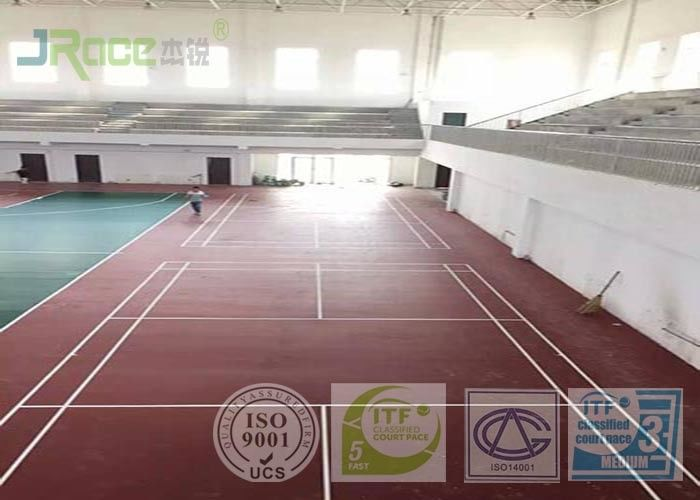Acrylic Synthetic Sports Surfaces , Outdoor Sports Flooring 2-7 Mm Thickness