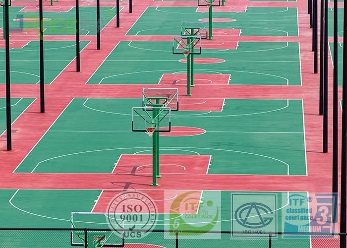 Dark Red Color SPU Sport Court Surface For Tennis Field With 670 Square Meters
