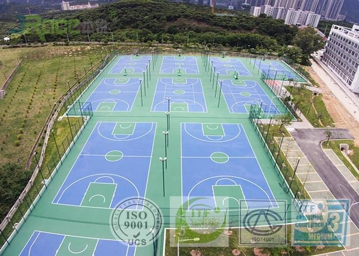 Silicon PU Outdoor Sports Field Surface Solvent Free With Outdoor Cushion Effect
