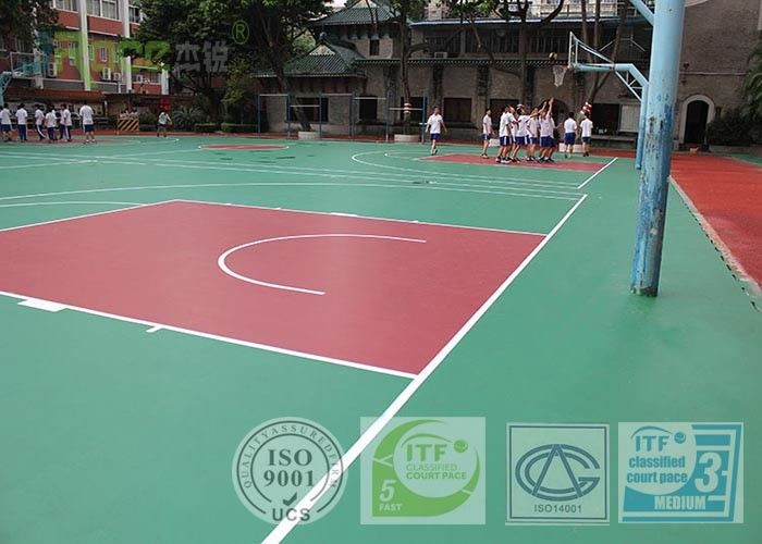 Liquid Painting Multifunctional Sport Court Surface With Aerial Material Elastic Cushion