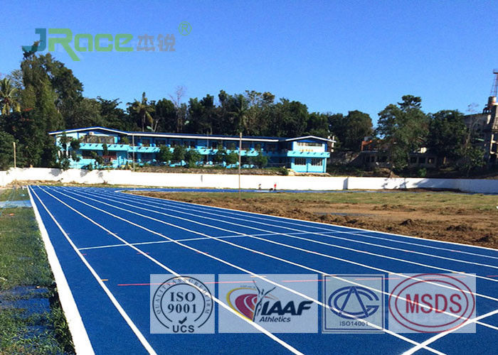 Professional Rubber Flooring Track Surface , Blue Running Track Material Resilient Character