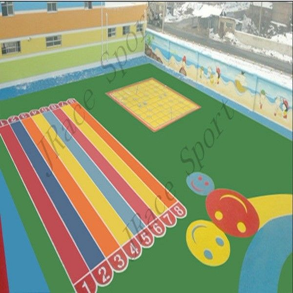 Acrylic Epdm Seamless Flooring , Epdm Playground Surface Compression Resistance